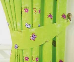 Girls lime green fairytale princess butterfly bedroom curtains 66 x 54 kitchen for Lime green curtains for bedroom