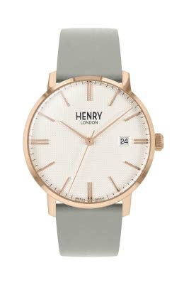 Henry London Unisex Adult Analogue Classic Quartz Watch with Leather Strap HL40-S-0398