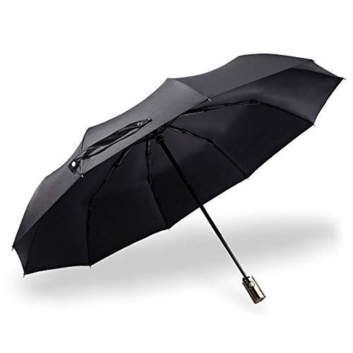 Big seller Regenschirme Automatischer Regenschirm-männlicher Knochen-windundurchlässiger Zunahme-Falten-Doppeltes (Farbe : SCHWARZ)