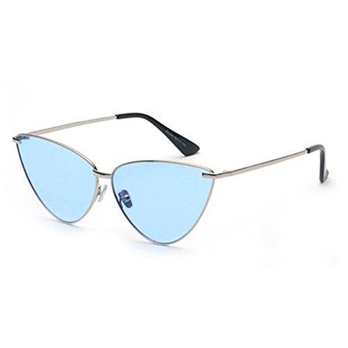 SUNGLASSES Neue europäische und amerikanische Persönlichkeit Sonnenbrille Mode Katzen Dreieck Myopie Sonnenbrillen (Farbe : Silver Frame Blue Film)