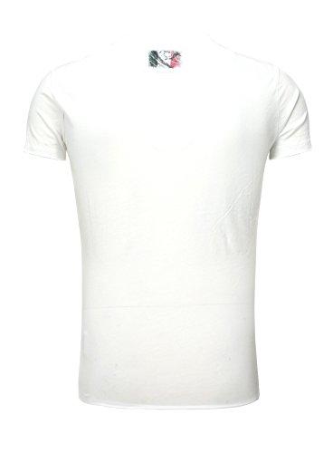 Key Largo T-Shirt da uomo Italy Bandiera motivo scollo rotondo look vintage taglio slim fit maglietta estiva printshirt Campionati Europei EM 2016effetto délavé Bianco