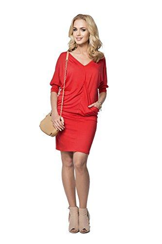 AE - Robe spécial grossesse - Tunique - Manches 3/4 - Femme L / XL Rouge