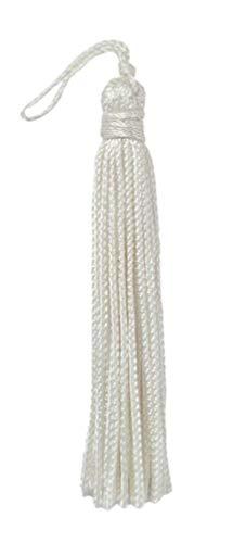 DecoPro Chainette Quaste, 7,6cm lang mit 2,5cm Schlaufe, Basic-Trim-Kollektion, Stil: RT03,Farbe A1, 10er-Set, weiß -
