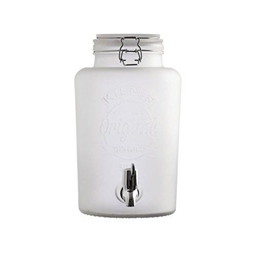 Rayw. Getränkespender Original Frosted weiß 5 L Glas, Milchglas Vintage Wasserspender Saftspender Zapfhahn Deckel, Einmachglas Optik mit Metall Clip