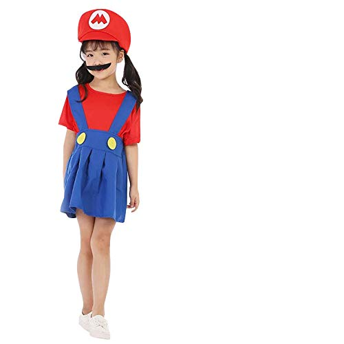 Kostüm Prinzessin Bros Mario - thematys Super Mario Luigi Mütze + Kleid + Bart - Kostüm-Set für Mädchen - perfekt für Fasching, Karneval & Cosplay - 3 Verschiedene Größen (L, Mario, 130-140cm)