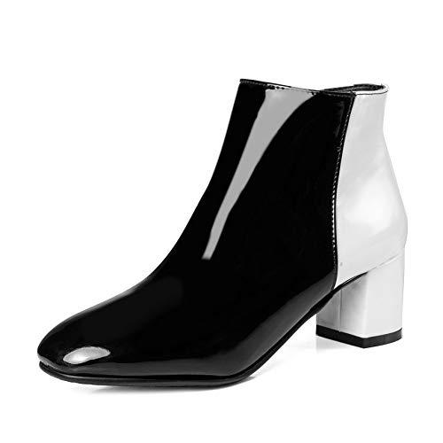 HAOLIEQUAN Frauen Ankle Boots Pu Leder Reißverschluss Winter Stiefel Alle Spiel Square High Heel Quadratische Spitze Frauen Stiefel Gr. 34-43, Schwarz, 11. - Spitze Stiefel Frauen, Für Quadratische