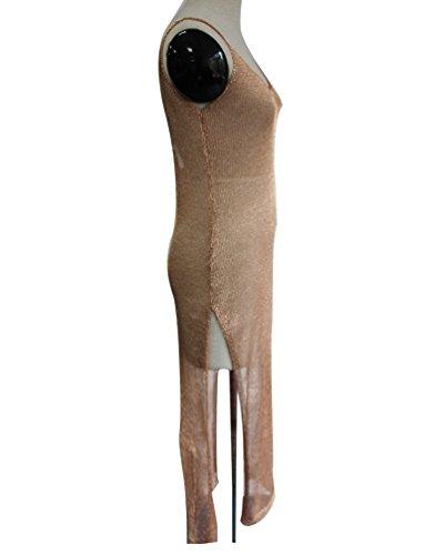 Lumeidon Donna Sciolto Fionda Abito Lungo Bikini Costume da Bagno Spiaggia Cover-up Oro