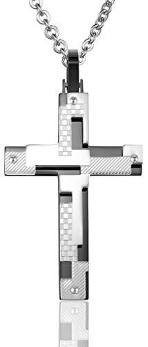 Abellale Edelstahl Halsketten, Kettenanhänger Herren Checker Diagonal Puzzle Kreuz 53X35MM Schwarz, Kostenlose Gravur Diagonale Checker