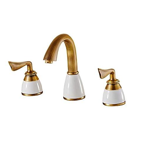 Robinet de salle de bain robinet de cuivré en laiton antique double poignée mélangeur de cuisinette à trois pièces ,
