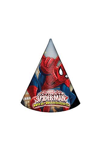 Ciao Procos 85166-Papier-Hüte Ultimate Spider Man Web Warriors, 6Stück, rot/blau/hellblau