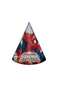 Procos, 85166-Gorros de papel con diseño «Ultimate Spider Man Web Warriors», 6unidades, rojo/azul/celeste