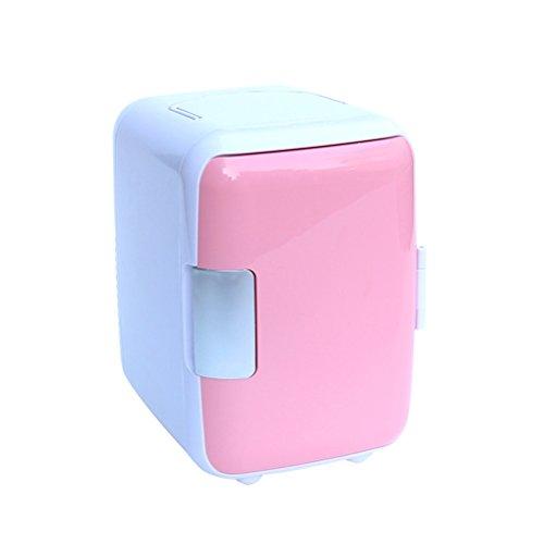 VORCOOL 4L Mini Kühlschrank Gefrierschrank Minibar Tisch-Kühlschrank für Auto Outdoor Camping Reise Hotel Haus Büro Heißer und kalter Gefrier (Rosa)
