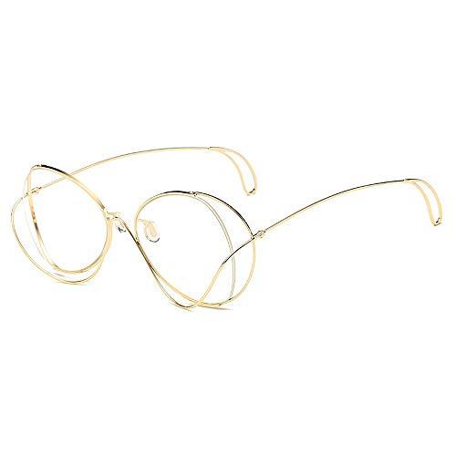 Easy Go Shopping Frauensonnenbrillen Persönlichkeit Design Unregelmäßiger Metallrahmen für Unisex-Sonnenbrillen Damenbrillen UV-Schutz für unterwegs (Farbe : Gold)