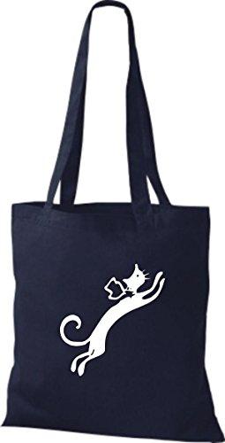 ShirtInStyle Stoffbeutel Katze Motive Rasse Katze Lustige Tiere Züchter Cat diverse Farbe french navy