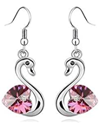 Delightful White Gold Plated Pink Swan Sparkling Earrings with PreciousBags Dust Bag