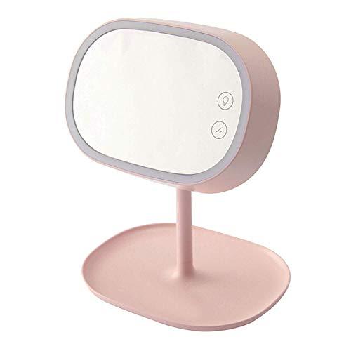 FJIE 180 ° Rotation Kosmetikspiegel Mit Licht, Tischplatten Beleuchtet Kosmetikspiegel Mit Dimmbaren LED-Lampen Und Touch Control Design (Color : Pink) (Tischplatte, Licht Stehen)