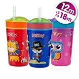 Nuby Snack N 'SIP Cup 270ml BPA-frei Alter 12M + (Rosa/Eule)