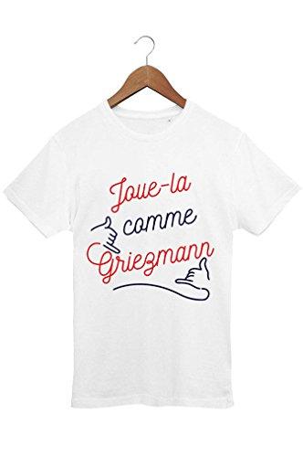 """T-shirt Homme Foot """"Joue-la comme Griezmann"""" - Blanc - XXL - Coton 100% Bio - Imprimé en France - Tee shirt Homme Football, Cadeau fan d'Antoine Griezmann"""