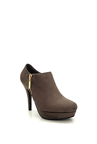CHIC NANA . Chaussure femme bottine à talon aiguille plateforme, aspect daim, zip fantaisie.