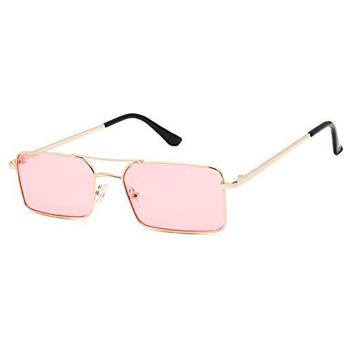 Siwen Neue Kleine Rechteck Sonnenbrille Frauen Rote Doppel Brücken Mode Metall Brillengestell Orange Gelb Shades Männer,Klares Rosa