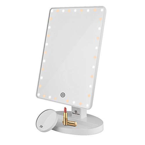 Sararoom LED Miroir de Maquillage, Miroir Lumineux avec rétroéclairage Dimmable à écran Tactile, Rotatif à 360 °, USB/Fonctionnement à Piles (Chaude+Blanc Lumière)