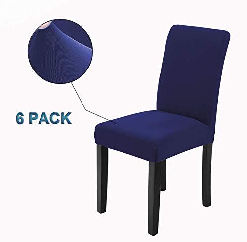 Veakii r coprisedie con schienale 6 pezzi, coprisedia per sala da pranzo mobili da cerimonia nuziale moderni, hotel, ristorante decor (blu, 6 pezzi)