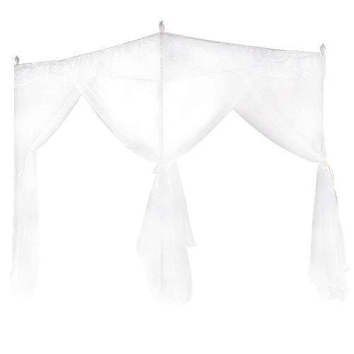 Caredy Moskitonetz, Universal Weiß Moskitonetz Prinzessin DREI Seitenöffnungen Post Bett Vorhang Baldachin Netting für Bed Home Schlafzimmer Outdoor Camping(150 * 200 * 200) -