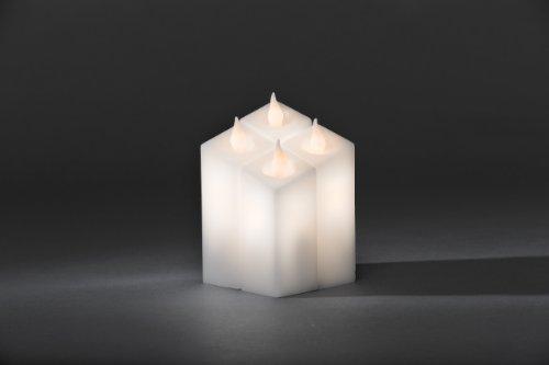 Konstsmide 1973-100 - Juego de 4 velas de LED (interruptor, sensor de luz, 12 diodos de luz blanca cálida, incluye 3 pilas AA de 1,5 V)