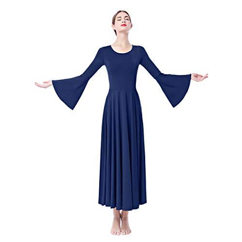 OBEEII Damen Liturgisch Tanzkleid Lange Ärmel Elastisch Tanzstrumpfhose Frauen Elegant Kirche Worship Tanzkleidung Ballett Jazz Lateinischer Tanz Kirche Chor Beten Gebet Kostüm Dunkelblau (Roboter Tanz Kostüm)