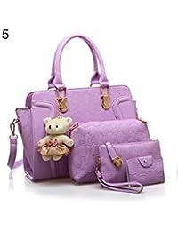 ELECTROPRIME 5 Pcs/Set Fashion Lady Faux Leather Handbag Shoulder Bag Clutch Card Holder Gift - B077N54NTH