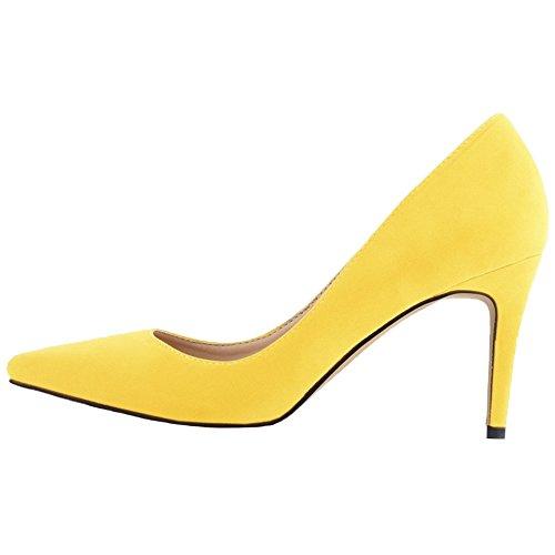 HooH Mujer Stiletto Tacón alto Boda Trabajo Vestir Zapatos de tacón Slip On Amarillo 38 EU
