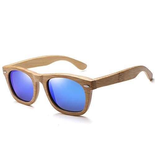H.Y.BBYH Sonnenbrillen Brille Polarisierte Nieten Männer Frauen Bambus Holz Sonnenbrille Square Frame Sonnenbrille Mode Brillen (Color : Blau, Size : Kostenlos)