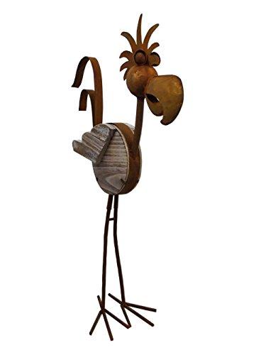 Vogel Ziervogel Metall Holz Gartendeko Deko Garten Tier Figur Skulptur Statue