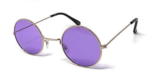 UltraByEasyPeasyStore Gold Mit Lila Linsen Kleine Stil Erwachsene Retro Runde Sonnenbrille John Lennon Vintage Look Qualität UV400 Elton Brille Herren Damen Klassische Unisex Brillen
