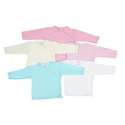 5er Set Baby Wickelshirt Flügelhemdchen Langarm Wickelhemd 100% Baumwolle Jungen Unterwäsche Mädchen, Farbe: Mädchen, Größe: 68