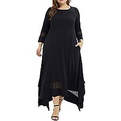 Clode Fashion Women Plus Size Solid O-Neck Three Quarter Sleeve Muslim Long Dress (L5)