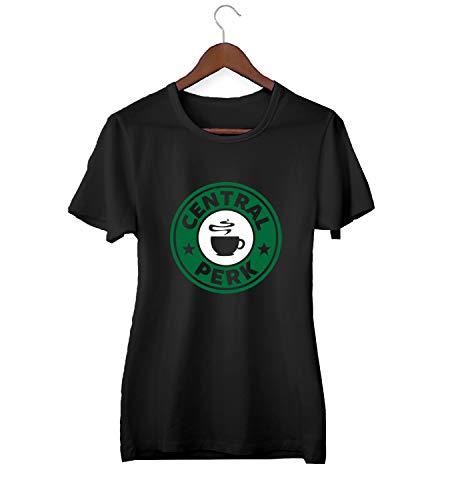 KLIMASALES Friends Central Perk Coffee Logo_KK015515 Shirt T-Shirt Tshirt para Mujeres Gift For Her Present Birthday Christmas - Women's - Small - Black