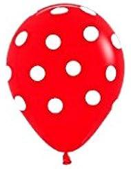 """Sempertex - Bolsa de 10 globos sempertex r12 de 30 cm color fashion solido rojo """"puntos blancos"""""""