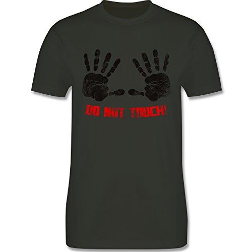 lustige Sprüche - do not touch! - L190 Herren Premium Rundhals T-Shirt Army Grün