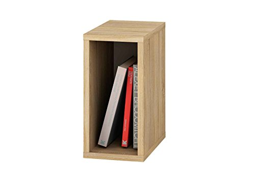 Samblo mizu slim cubo impilabile, legno e melammina, quercia/grigio, 40x 20x 33cm