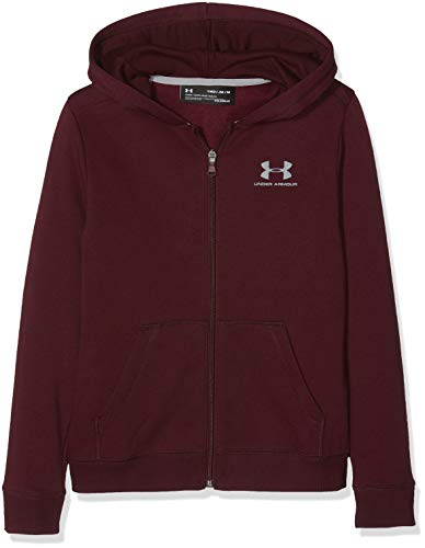 Under Armour Jungen EU Cotton Fleece Full Zip Oberteil, Dark Maroon/Steel (600), YXS Long Sleeve Full Zip Fleece