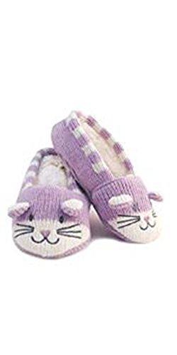 Katze Mädchen Hausschuhe rutschfeste Sohle Violett - Fliederfarben