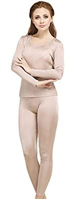 Tulpen Women's Pure Mulberry Silk Knitted Thermal Underwear Pajama Set