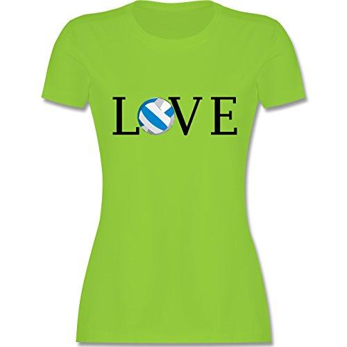 Volleyball - Volleyball Liebe Love - tailliertes Premium T-Shirt mit Rundhalsausschnitt für Damen Hellgrün