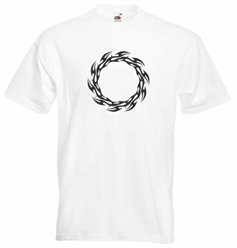 T-Shirt Herren kleinen feuerkreis Weiß