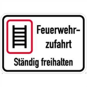 Schild Feuerwehrzufahrt ständig freihalten Alu 35x50cm (Brandschutzzeichen, Parkverbot) praxisbewährt, wetterfest