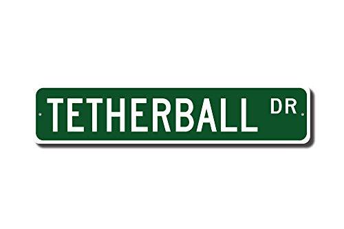 (qidushop Tetherball Schild Tetherball Fan Geschenk Tetherball Spielplatz Spiel Straßenschild Metall Wandkunst Weihnachten lustige Geschenke für Frauen)