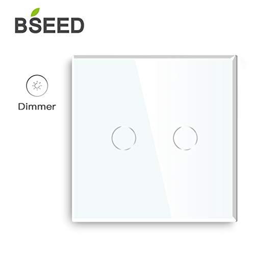 BSEED interrupteur variateur 2 gang 1 voie variateur de lumière led Gradateur Compatible 240V va et vient avec variateur Blanc Capteur Tactile Panneau Verre Cristal