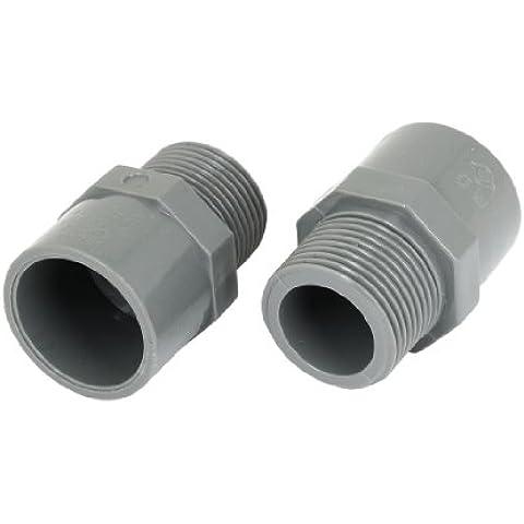 Sourcingmap a13062800ux0590 - 2 pezzi 1.91 cm pt connettore maschio dell'adattatore del tubo filo di pvc tubo diritto
