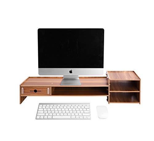 Lesfit Tisch Monitorständer Holz, Bambus Monitorerhöhung Schreibtisch Schublade Organizer, pc Laptop Monitor Ständer Bildschirmerhöhung (Braun)